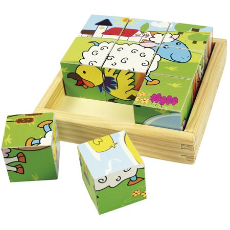 Picture of Wooden Farm Animal Cube Puzzle