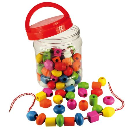 Picture of Lacing Beads in a Jar