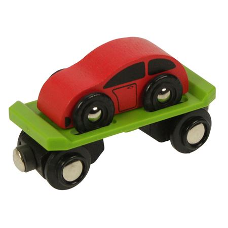 Picture of Car Carriage with Car (Bigjigs Rail BJT442)