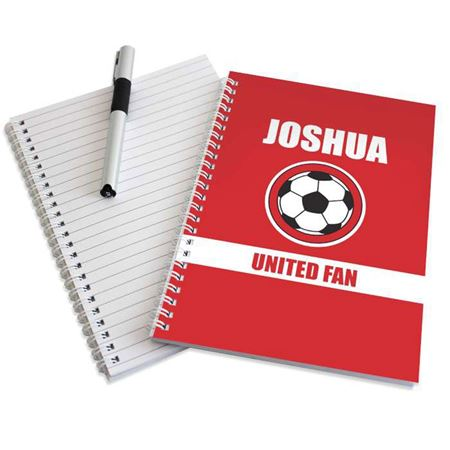 Picture of Personalised Red Football Fan A5 Notebook