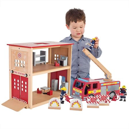 Wooden Fire Police Station Toys Fire Engine Toys