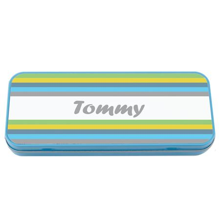 Picture of Named Pencil Tin - Blue Stripes