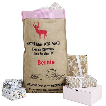 Picture of Personalised Hessian Christmas Sack
